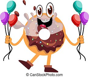 Donut holding balloons, illustration, vector on white background.