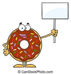 Donut Holding Up A Blank Sign