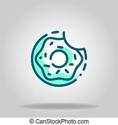 donut icon or logo in  twotone - Logo or symbol of donut ...