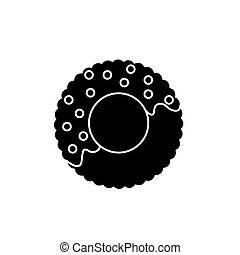donut icon, vector illustration, black sign on isolated background