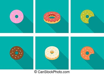 Donut icons in flat style, vector