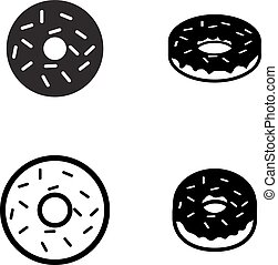 Donut icons in silhouette style, vector