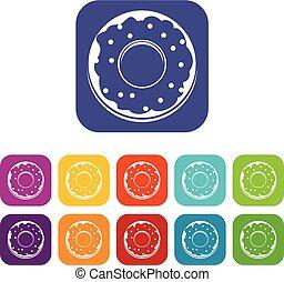 Donut icons set flat