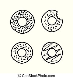 donut icons set on white background