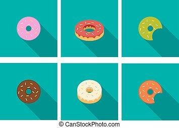 donut, ikony, w, płaski, styl, wektor
