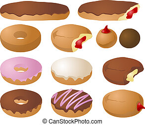 Various donut icons; mix and match colors and toppings to make your own donuts