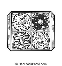 Donut in box engraving vector illustration. Scratch board...