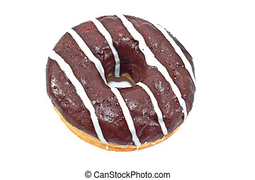 Donut in chocolate glaze with stripes isolated on white background