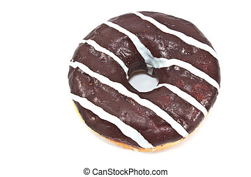 Donut in chocolate glaze with stripes isolated on white