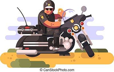 donut, koffie, politieman, motorfiets