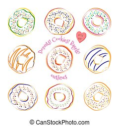 Donut line drawing vector set isolated on white background