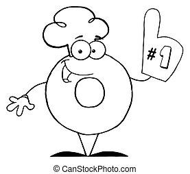 donut, numero, carattere, cartone animato, uno
