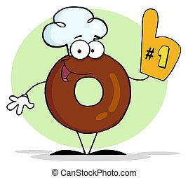 donut, numero, fondo, uno
