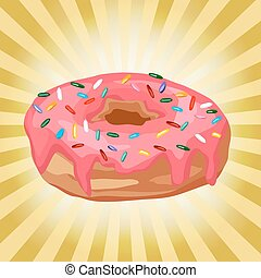 donut on a background with rays