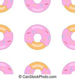 donut pattern big - Donut on a white background. Seamless...