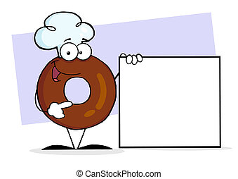 Donut Presenting A Blank Sign - Donut Character Wearing A...