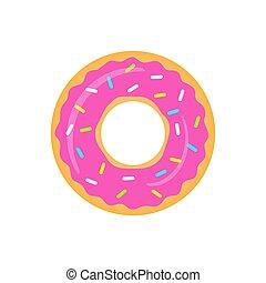 donut, rosa, freigestellt, vektor, white.