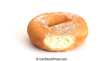 Donut rotating on a white background