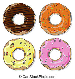 Donut set - Four ring donuts over white background, with a...