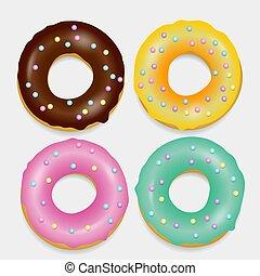 Donut set. Hand drawn bakery design pop art