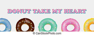 Donut set. Hand drawn bakery design pop art
