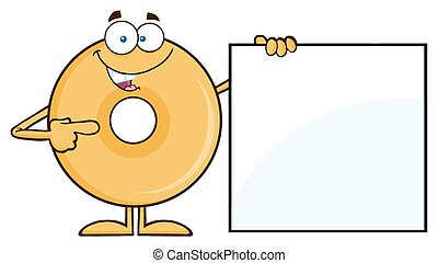 Donut Showing A Blank Sign - Donut Cartoon Character Showing...