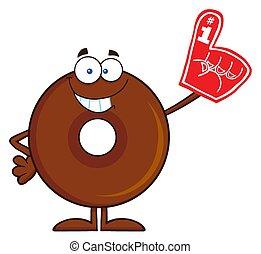 donut, sorridente, carattere, cioccolato