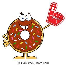 donut, sorridente, cioccolato
