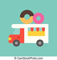 Donut truck vector, Food truck flat style icon