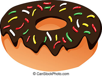 Donut - Vector Illustration of a donut with chocolate...
