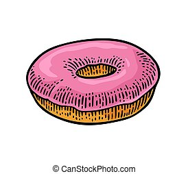 Donut. Vector color hand drawn vintage engraving