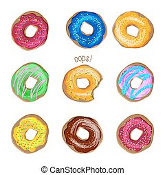 Donut vector set isolated on white background