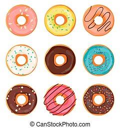 donut, vetorial, illustration., donut, isolado, ligado, um, luz, experiência., donut, ícone, em, um, apartamento, style., donuts, em, a, esmalte, set., cobrança, de, doce, donuts, isolated., donuts, icing, sugar.