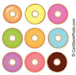donut, vetorial, jogo, isolado, ligado, um, fundo branco