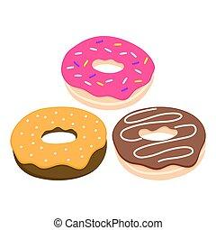 donut, vetorial, jogo, isolado, ligado, um, luz, fundo