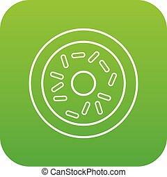 donut, vettore, verde, icona