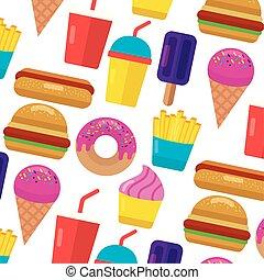 donut, voedingsmiddelen, dog, vasten, hamburger, warme, ijs, achtergrond, soda, room