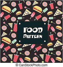 donut, voedingsmiddelen, model, beeld, ijs, hamburger, vector, achtergrond, pizza, room