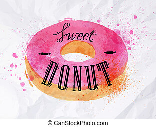 Donut watercolor poster