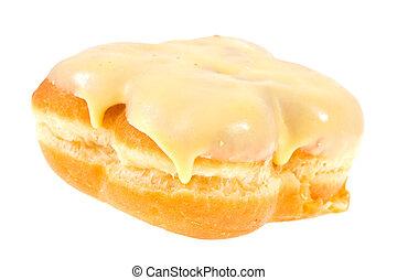 Donut with banana glaze isolated - Doughnut with banana ...