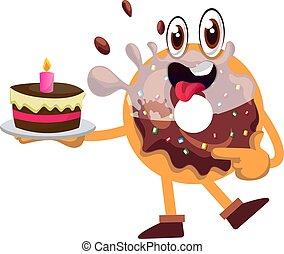 Donut with birthday cake, illustration, vector on white background.