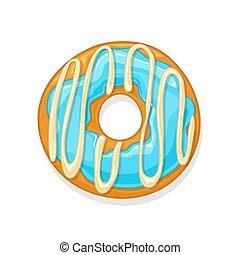 Donut with blue glaze and white chocolate isolated on white background, illustration.