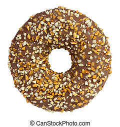 Donut with caramel sprinkled with chopped nuts isolated on white
