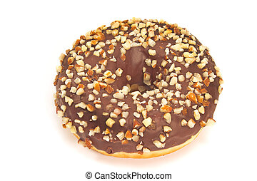Donut with chocolate and chopped almonds isolated on white