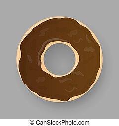 Donut with chocolate glaze isolated on grey background.