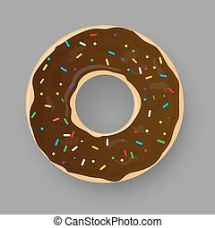 Donut with chocolate glaze isolated on grey background.