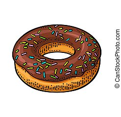 Donut with chocolate icing and white sprinkles. Vector color engraving