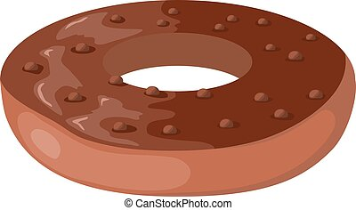 Donut with chocolate icing. Vector cartoon  illustration. Donut on a white background.