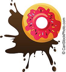 Donut with chocolate splash