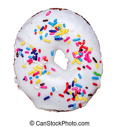 Donut with color sprinkles isolated on white
